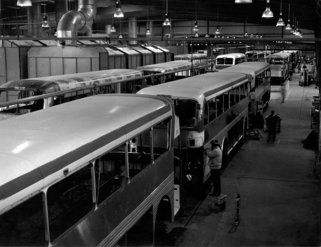 Brownsville Texas Eagle Assembly line (Paint Department) Eagle Model 05 Trailways coaches receive the bodywork that gives them their distinctive flair.